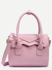 Pink Metal Plate Embellished Cut Flap Satchel Bag