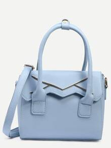 Blue Metal Plate Embellished Cut Flap Satchel Bag