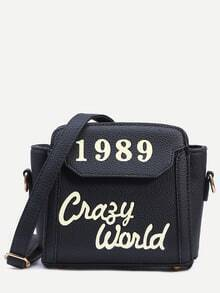 Black Letter Print Trapeze Crossbody Bag