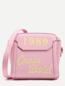 Pink Letter Print Trapeze Crossbody Bag