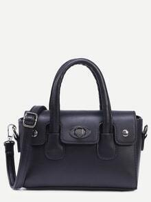 Black Turnlock Flap Satchel Bag