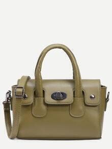 Green Turnlock Flap Satchel Bag
