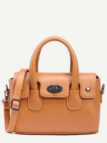 Brown Turnlock Flap Satchel Bag