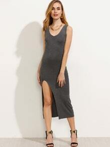 Plain Grey Split Side Tank Dress