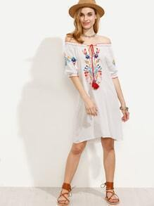 Embroidery White Off The Shoulder Ruffle Dress With Tassel Tie