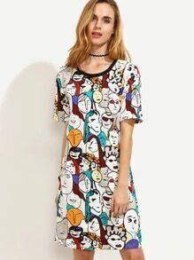 Multicolor Cartoon Portrait Print Contrast Trim Tshirt Dress
