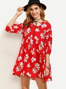 Red Flower Print High Waist Dress