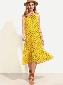 Yellow Floral Print Ruffle Hem Dress