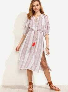 White Vertical Striped Tie Neck Slit Sleeve Dress