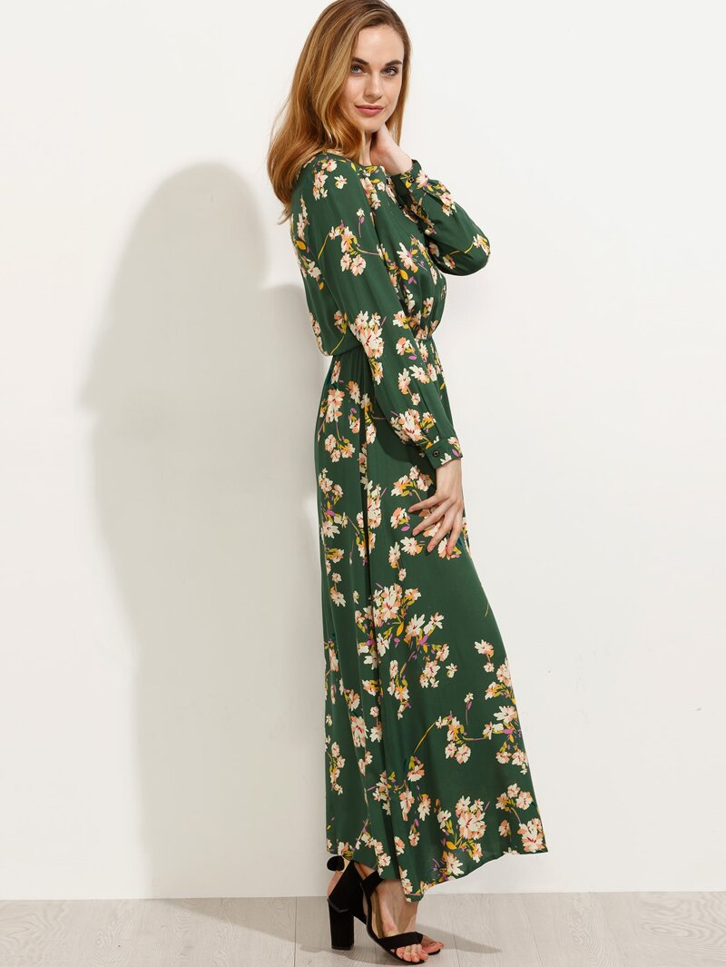 3eda10138 Vestido estampado floral manga larga - verde