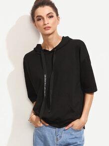 Black Drop Shoulder Pouch Pocket Hooded Sweatshirt