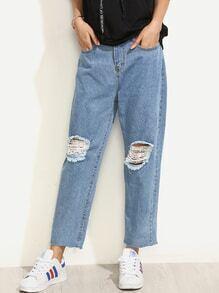 Blue Knee Ripped Raw Hem Boyfriend Jeans