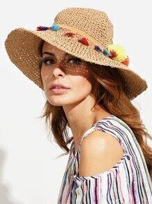 Coffee Tassel Pom-pom Trim Large Brimmed Straw Hat