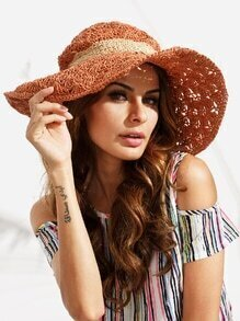 Vacation Crochet Large Brimmed Straw Hat