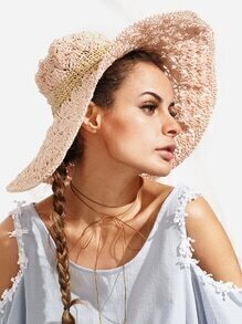 Pink Vacation Crochet Large Brimmed Straw Hat