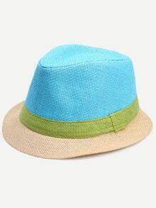 Colorblock Vacation Straw Fedora Hat