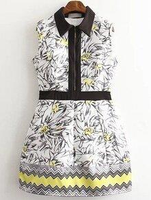 Multicolor Sleeveless Lapel Printed Zipper Dress