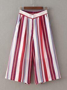 Red Elastic Waist Stripe Wide Leg Pants
