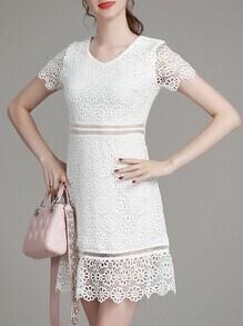 White V Neck Crochet Hollow Out Dress