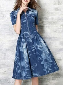 Blue Lapel Denim A-Line Dress