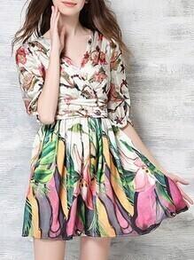 Multicolor V Neck Floral A-Line Dress