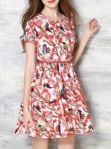 Multicolor Belted Floral A-Line Dress
