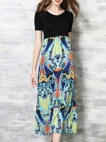 Multicolor Crew Neck Print Long Combo Dress