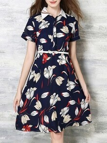 Navy Lapel Belted Print A-Line Dress