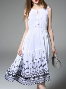 White Tie Neck Embroidered A-Line Dress