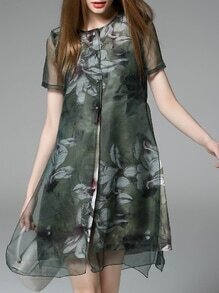 Green Crew Neck Print Shift Dress
