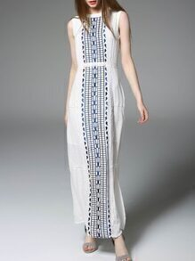 White Embroidered Pleated Split Dress