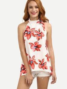 Multicolor Floral Mock Neck Sleeveless Blouse