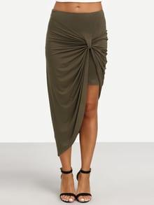 Army Green Pleated Asymmetrical Skirt