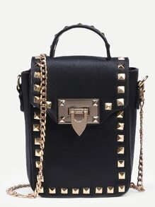 Black Studded Box Handbag With Chain
