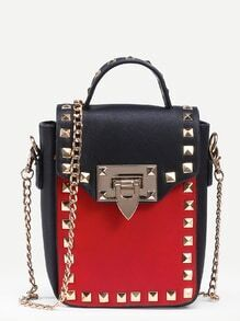 Contrast Studded Box Handbag With Chain