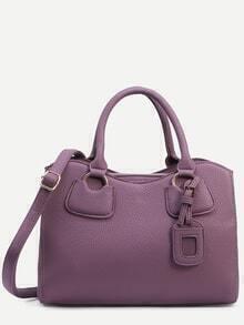 Purple Pebbled Faux Leather Satchel Bag