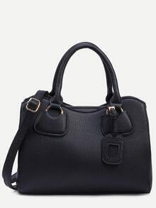 Black Pebbled Faux Leather Satchel Bag