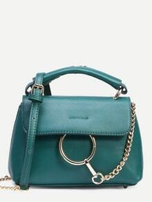Green Ring Chain Accent Satchel Bag