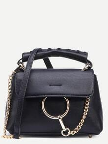 Black Ring Chain Accent Satchel Bag