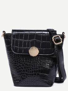 Black Crocodile Embossed Flap Bucket Crossbody Bag