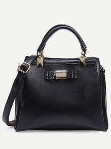 Black Glitter Bow Embellished Structured Satchel Bag