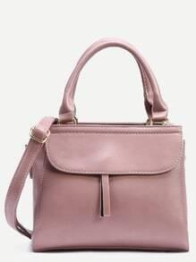 Pink Zip Front Fold Over Flap Satchel Bag