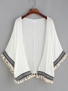 White Kimono With Tassel and Embroidered Tape Detail