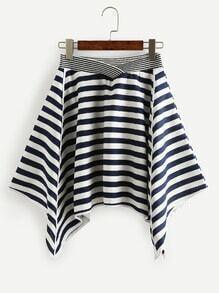 Navy White Striped Asymmetric Skirt
