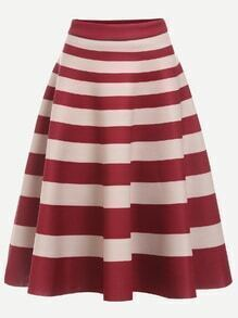 Burgundy Pink Striped A Line Skirt