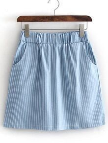 Blue Elastic Waist Pocket Bodycon Skirt