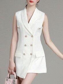 White V Neck Asymmetric Dress