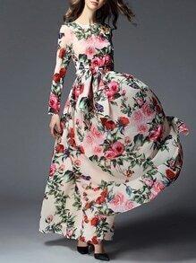 Apricot Tie-Waist Floral Maxi Dress
