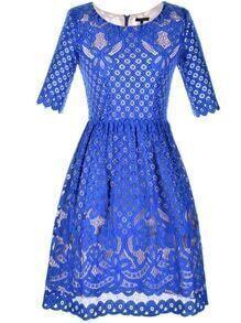 Blue Crew Neck Lace A-Line Dress
