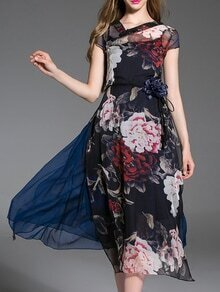 Multicolor Flowers Print Belted Two-piece Dress